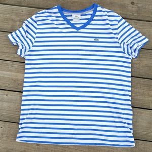 Lacoste blue and and white striped t-shirt